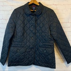 GAP black quilted button up coat size large